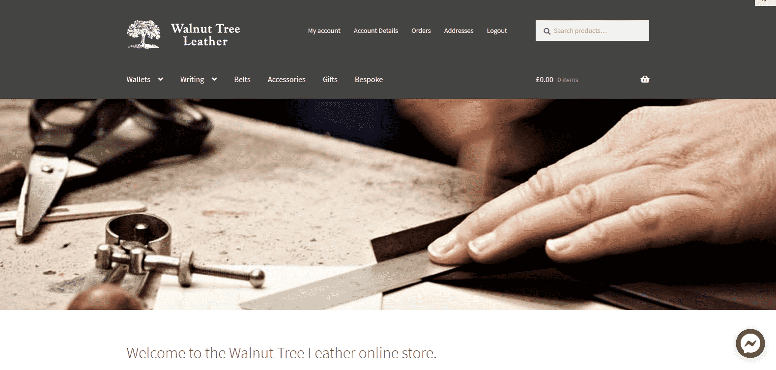 New Walnut Tree Leather Website Screenshot